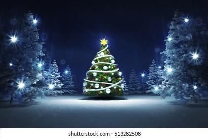 xmas tree in winter glittering magic woods, blue seasonal landscape background 3D illustration