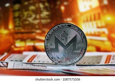 XMR monero coin  over colorful background