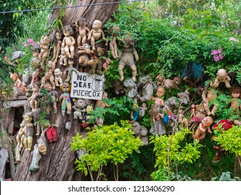 Xochimilco, Mexico - Oct 21, 2018:The Island of the Dolls in the channels of Xochimilco in Mexico