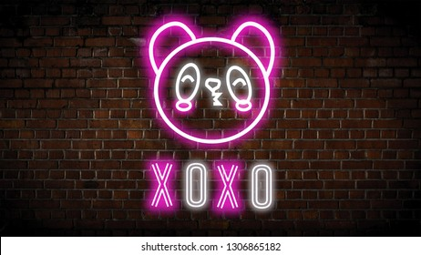 Xoxo neon sign  on a brick wall