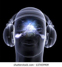 X-ray DJ Headphones: An x-ray of a male DJ wearing headphones with electric activity in his head. Isolated on a black background