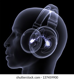 X-ray DJ Headphones: A profile view x-ray of a male DJ wearing headphones with electric activity in his head. Isolated on a black background