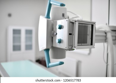 X-ray examination roentgen cabinet in the medical hospital background