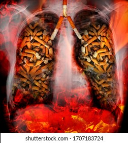X-ray of a human thorax with effects of cigarette smoking. Red flame fire. Lung cancer and other hard disease. Hazards of smoking. Warning. Multi exposition