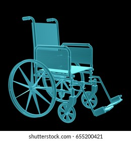 X-Ray Image Of Wheelchair. Isolated on black background