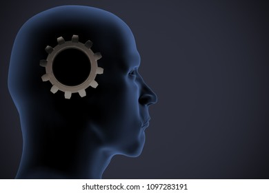 An xRay of a man's head reveals a gear indicating artificial intelligence as 3d rendering.