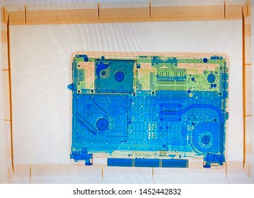 X-ray projection of a laptop or notbook at airport security.