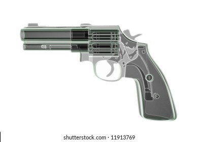 Xray revolver on white background. Computer generated 3D.