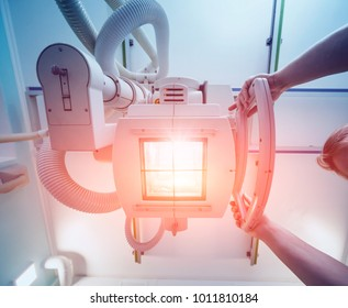 X-ray room in a hospital. Classic ceiling-mounted x-ray system. Medical equipment