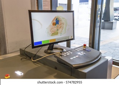 X-ray scanner and metal detector at security checkpoint