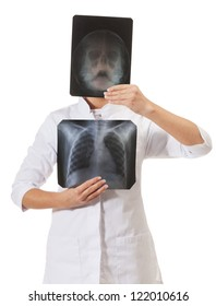 X-ray specialist on isolated white
