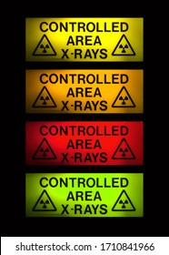 X-Rays sign in 4 different colours on black