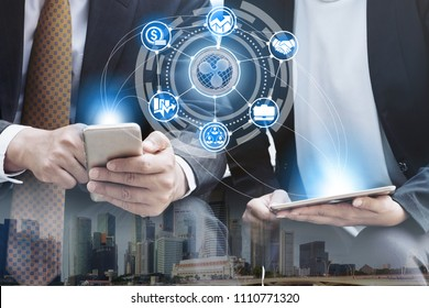 XRP coins and cryptocurrency virtual wallet money transfer concept - Traders using virtual wallet in mobile phone application to transfer XRP with another trader.