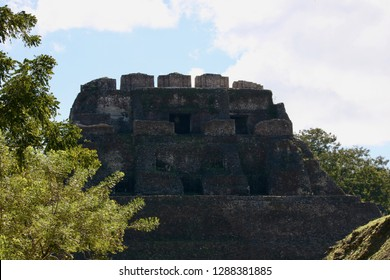 Xunantunich Mayan Ruins with no people on top. Bright sunny day in Belize.