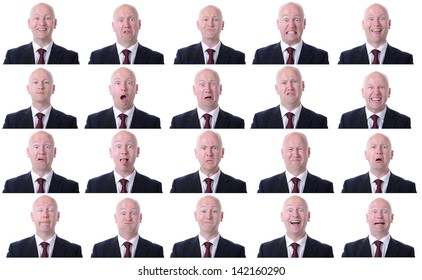 XXL high resolution image of a businessman facial expressions isolated on a white background