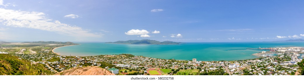 XXL Panorama of Townsville, Queensland, Australia, with Magnetic Island in the background, seen from Castle Hill viewpoint. Magnetic Island is a popular tourist destination. Harbour and beaches.