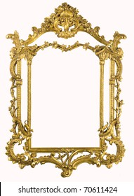 XXXL Antique gold frame isolated on the white with clipping path