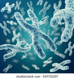 XY-chromosomes on background, medical symbol gene therapy or microbiology genetics research with with focus effect. 3d rendering