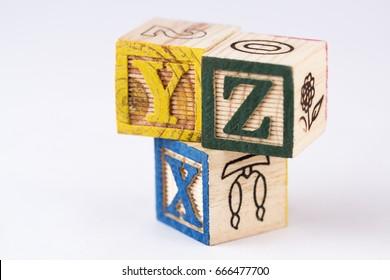 XYZ Alphabets with Wooden Blocks