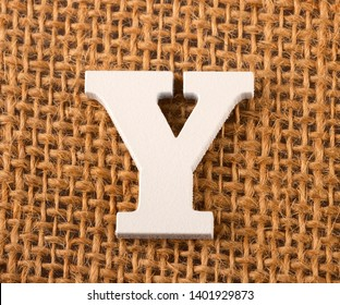 Y, Letter of the alphabet - Burlap Background Texture