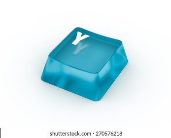 Y Letter on transparent blue keyboard button