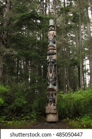 The Yaadas Crest Totem Pole in Sitka National Historical Park, Sitka, Alaska