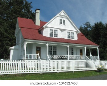 Yachats, Oregon USA - March 19, 2019: Historic lightkeeper's house at Heceta Head Lighthouse is a traditional 1890s Victorian structure, operating as a bed and breakfast.