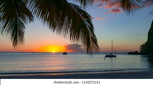 yacht anchoring during sunset in famous Rodney Bay, Saint Lucia, West Indies