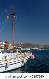 Yacht anchoring in the mediterranean sea