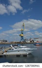 yacht of a baltic sea. wismar, mecklenburg western pomerania, germany, april-30-2017