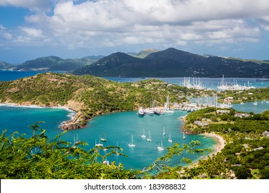 Yacht basin in Antigua from hills