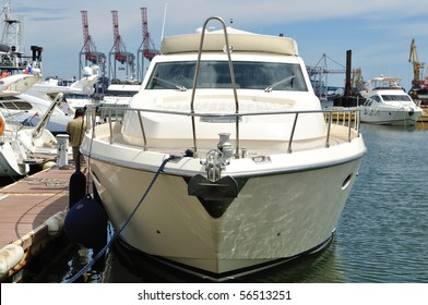 The yacht is the berth for loading