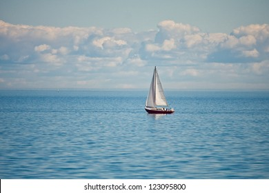 Yacht and blue water lake