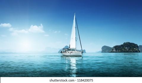 yacht and blue water ocean - Shutterstock ID 118420075