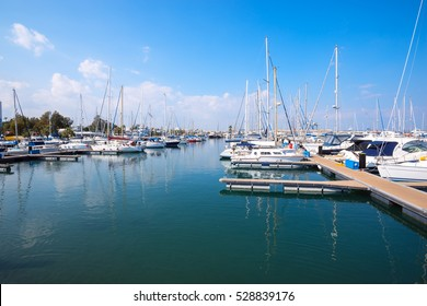 Yacht club in the Larnaca, Cyprus at sunny day.