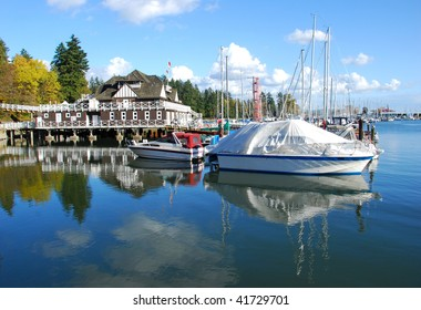 the yacht club with sail boats at the Stanley Park, Vancouver, British Columbia, Canada, North America