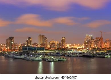Yacht Club.Ashdod Israel. Evening view
