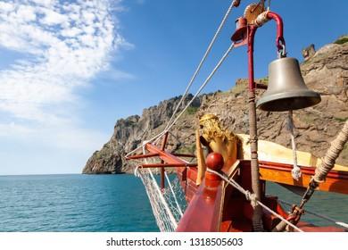 Yacht at the Crimean coast