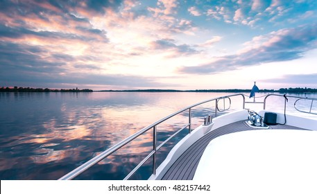 yacht deck in sunset