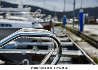 Yacht handrail on the dock. Norway