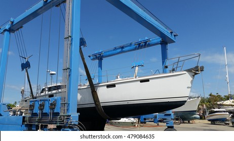 yacht hauling out for repair at Phuket Boat Lagoon Marina in Thailand