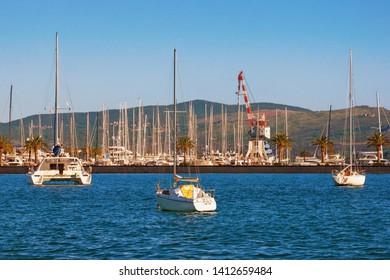 Yacht marina in Adriatic. Montenegro, Adriatic Sea, Bay of Kotor, Tivat city. View of Porto Montenegro on sunny day