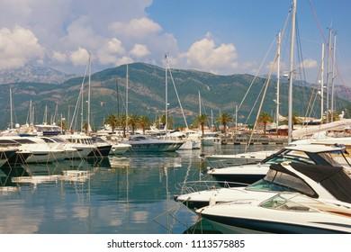 Yacht marina in Adriatic. Montenegro, Tivat, Porto Montenegro