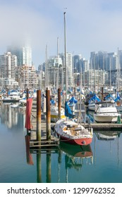 Yacht marina in downtown Vancouver in summer foggy day, British Columbia, Canada