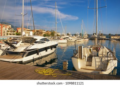 Yacht marina. Montenegro, Bay of Kotor, view of Porto Montenegro in Tivat city