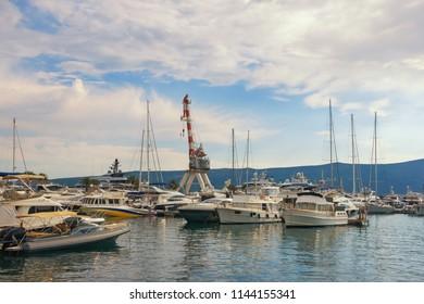 Yacht marina of Porto Montenegro. Montenegro, Bay of Kotor, Adriatic Sea, Tivat city