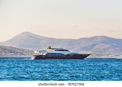 Yacht in the Mediterranean sea at  in Saint-Tropez, French Riviera in France in summer.
