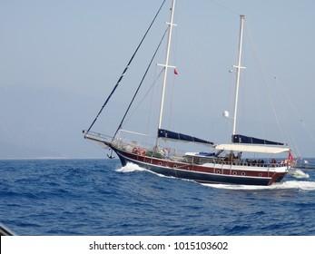 Yacht in the Mediterranean Sea, Turkey