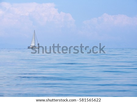 ae813a8b1 Yacht on the background of clouds on the island of Kefalonia in the Ionian  Sea in