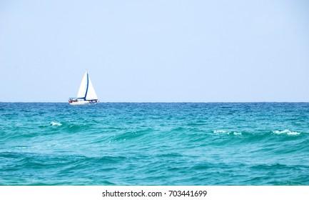 Yacht on the high seas